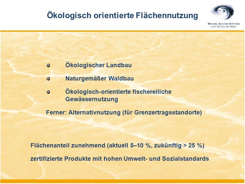 Flächenanteil zunehmend (aktuell 5–10 %, zukünftig > 25 %) zertifizierte Produkte mit hohen Umwelt- und Sozialstandards Ökologisch orientierte Flächen
