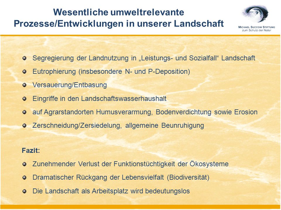 """Wesentliche umweltrelevante Prozesse/Entwicklungen in unserer Landschaft Segregierung der Landnutzung in """"Leistungs- und Sozialfall"""" Landschaft Eutrop"""