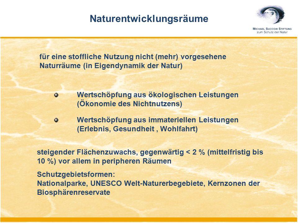 Naturentwicklungsräume steigender Flächenzuwachs, gegenwärtig < 2 % (mittelfristig bis 10 %) vor allem in peripheren Räumen Schutzgebietsformen: Natio