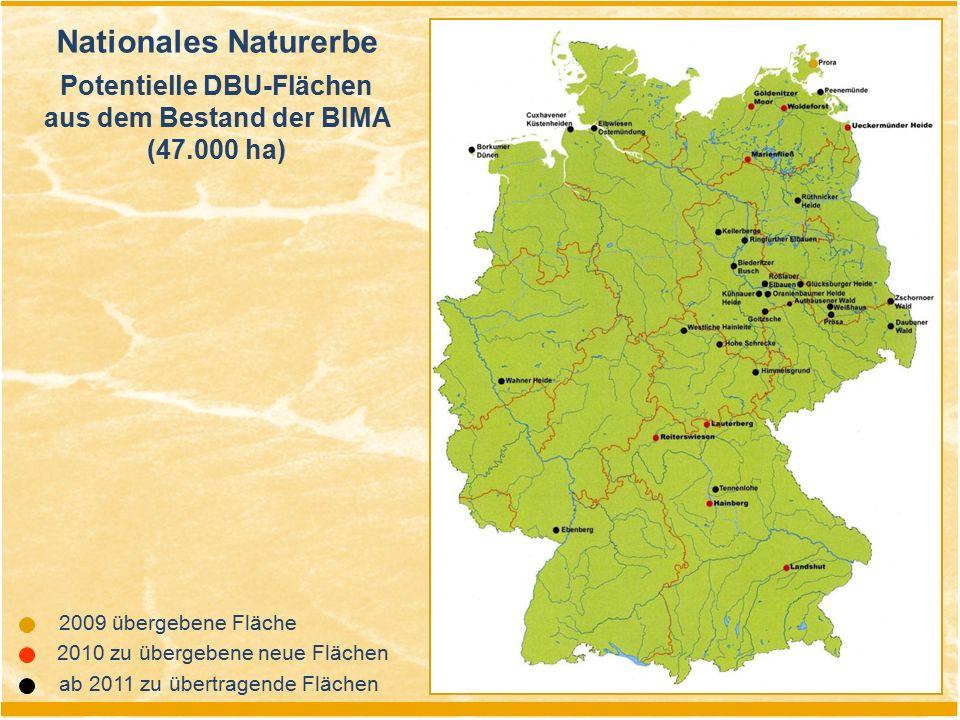 2010 zu übergebene neue Flächen Nationales Naturerbe Potentielle DBU-Flächen aus dem Bestand der BIMA (47.000 ha) 2009 übergebene Fläche ab 2011 zu üb