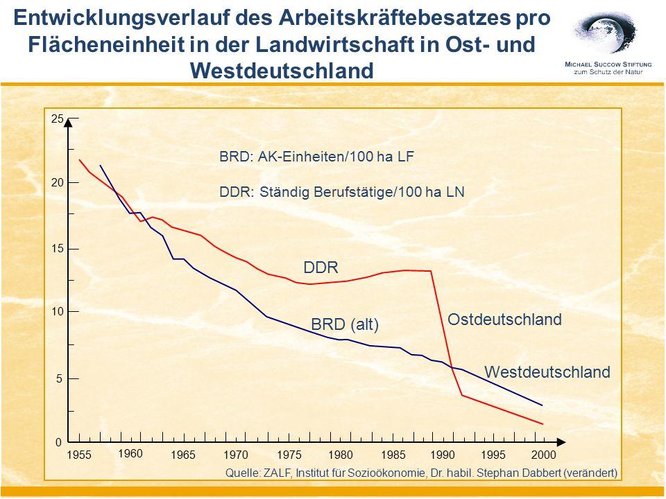 Entwicklungsverlauf des Arbeitskräftebesatzes pro Flächeneinheit in der Landwirtschaft in Ost- und Westdeutschland 1955 1960 1965197019751980198519901
