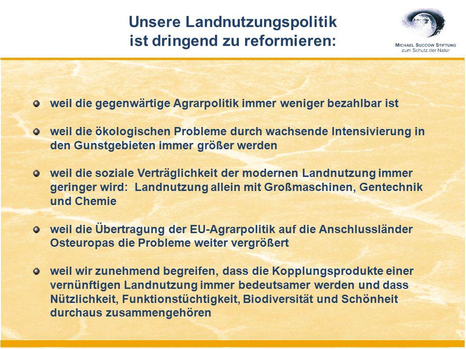"""Differenzierte Flächennutzung: Szenario Deutschland 2020 1.Urbane Räume < 15 % 2.""""Maximierte Produktionslandschaften < 50 % 3.Ökologisch orientierte Flächennutzung > 25 % (einschließlich alternativer Nutzungsformen) 4.Landschaftspflege in Schutzgebieten < 5 % 5.Naturentwicklungsräume 5 (10) %"""