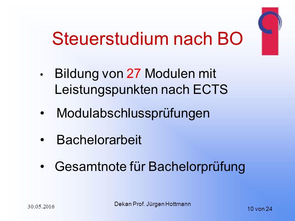 10 von 24 Steuerstudium nach BO Bildung von 27 Modulen mit Leistungspunkten nach ECTS Modulabschlussprüfungen Bachelorarbeit Gesamtnote für Bachelorprüfung Dekan Prof.