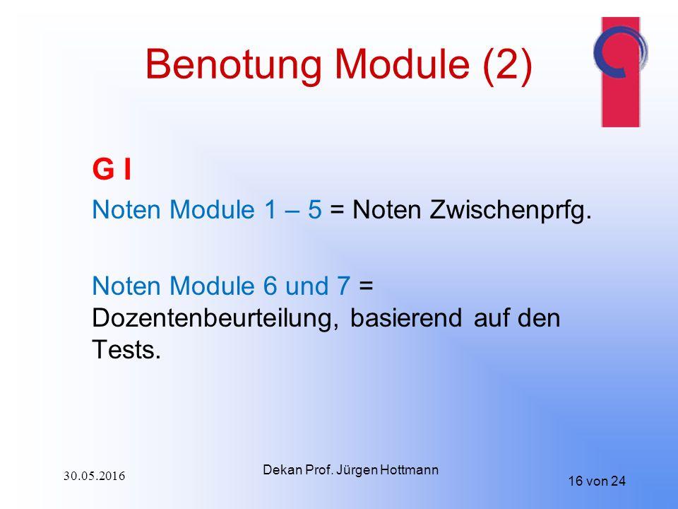 16 von 24 Benotung Module (2) G I Noten Module 1 – 5 = Noten Zwischenprfg.