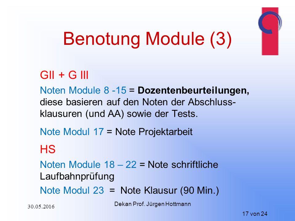 17 von 24 Benotung Module (3) GII + G III Noten Module 8 -15 = Dozentenbeurteilungen, diese basieren auf den Noten der Abschluss- klausuren (und AA) sowie der Tests.