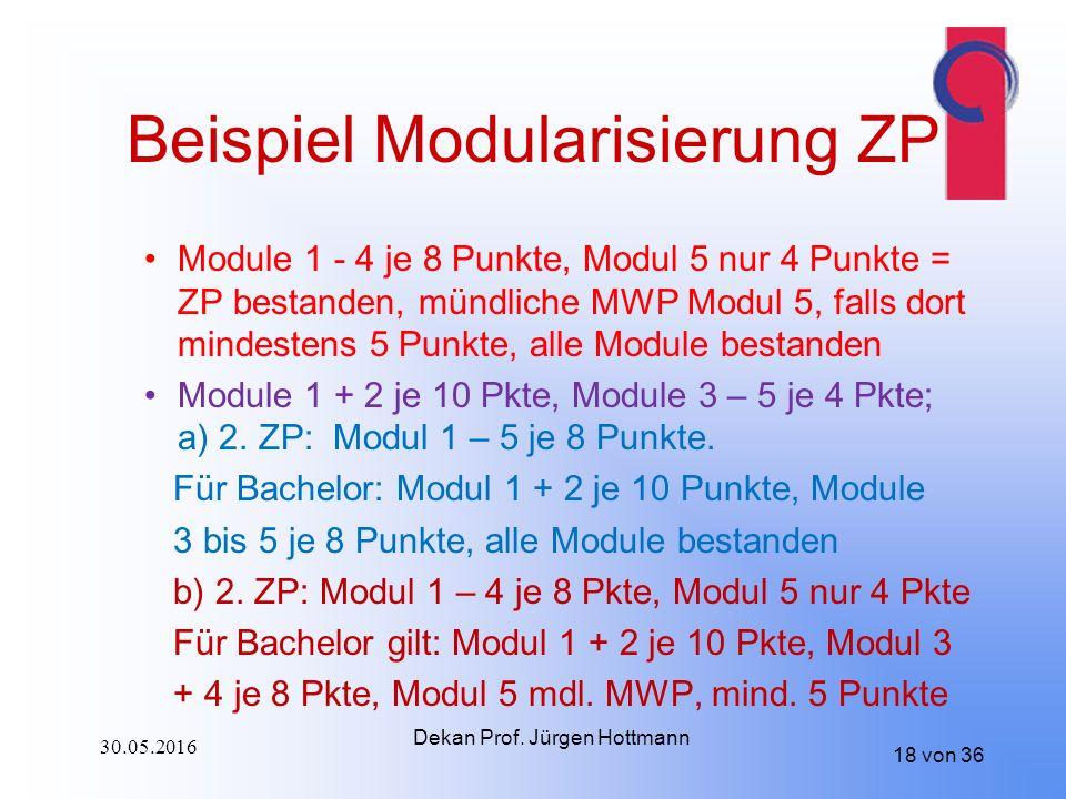 18 von 36 Beispiel Modularisierung ZP Module 1 - 4 je 8 Punkte, Modul 5 nur 4 Punkte = ZP bestanden, mündliche MWP Modul 5, falls dort mindestens 5 Punkte, alle Module bestanden Module 1 + 2 je 10 Pkte, Module 3 – 5 je 4 Pkte; a) 2.
