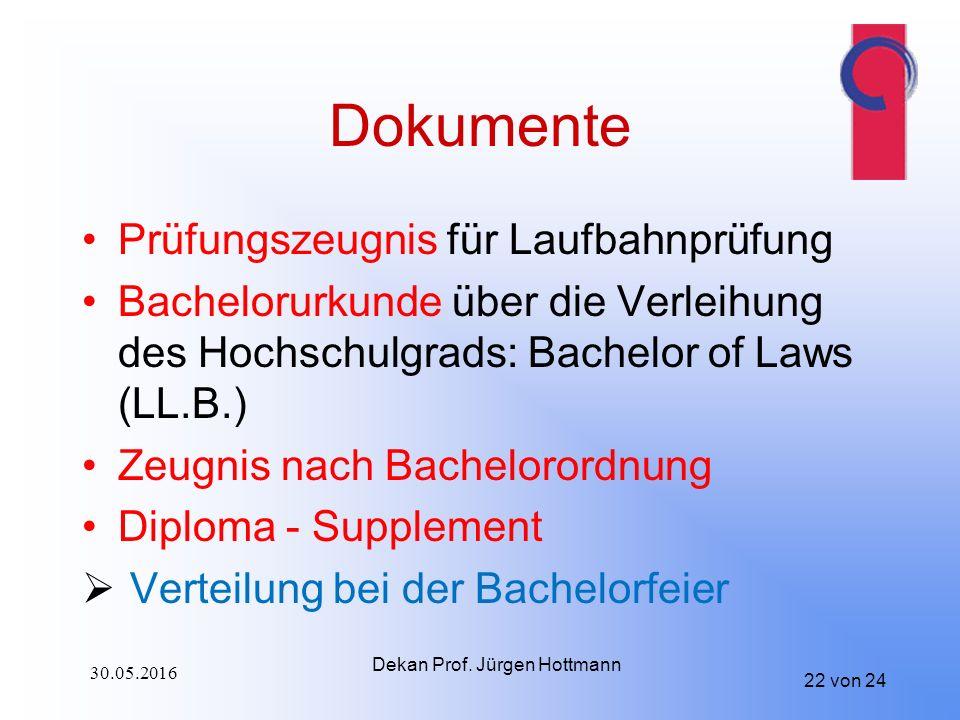 22 von 24 Dokumente Prüfungszeugnis für Laufbahnprüfung Bachelorurkunde über die Verleihung des Hochschulgrads: Bachelor of Laws (LL.B.) Zeugnis nach Bachelorordnung Diploma - Supplement  Verteilung bei der Bachelorfeier Dekan Prof.