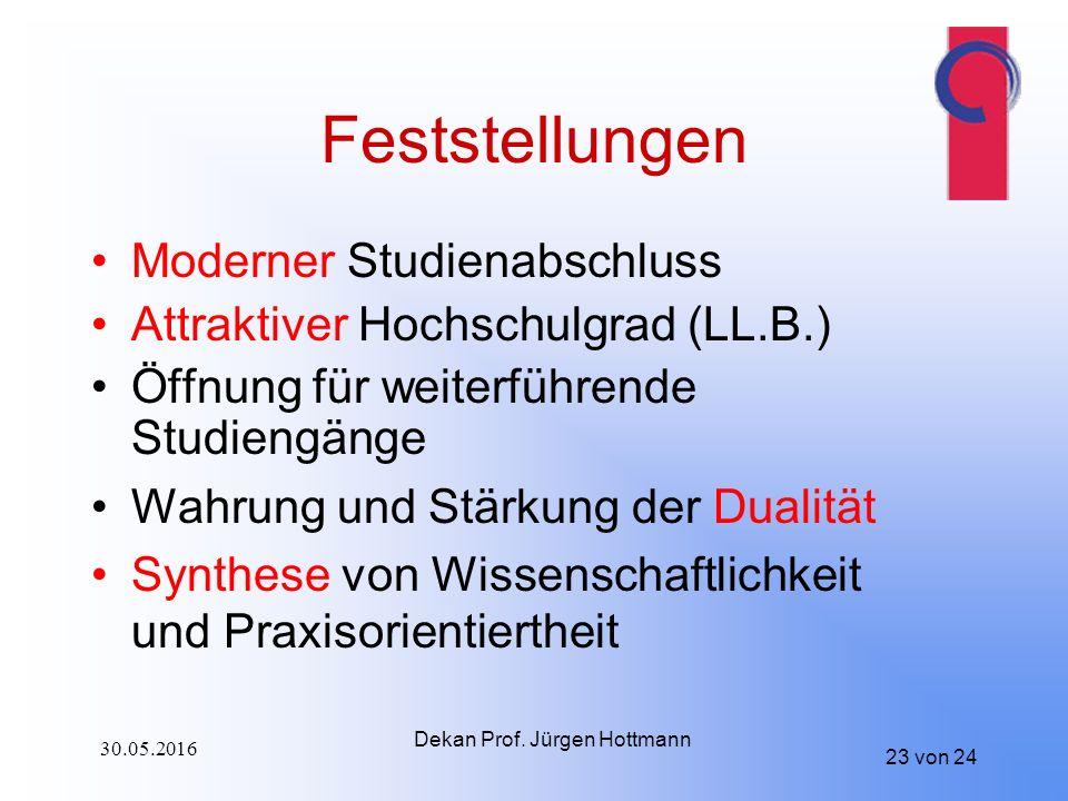 23 von 24 Feststellungen Moderner Studienabschluss Attraktiver Hochschulgrad (LL.B.) Öffnung für weiterführende Studiengänge Wahrung und Stärkung der Dualität Synthese von Wissenschaftlichkeit und Praxisorientiertheit Dekan Prof.
