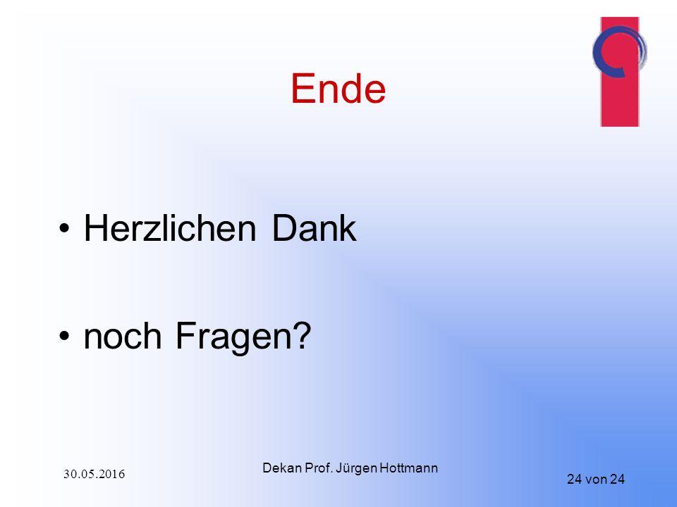 24 von 24 Ende Herzlichen Dank noch Fragen? Dekan Prof. Jürgen Hottmann 30.05.2016