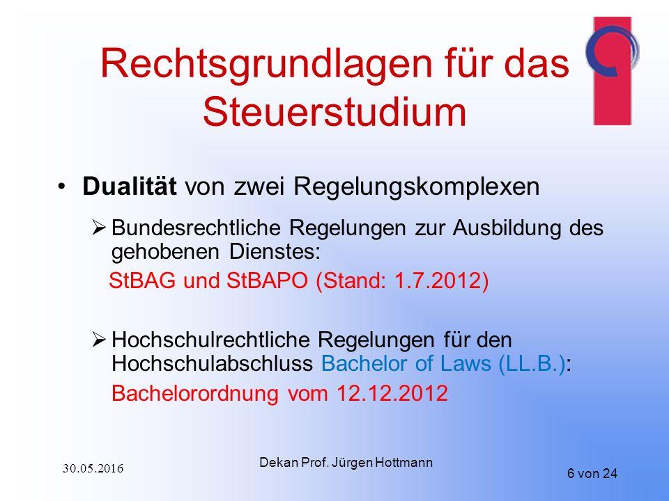 6 von 24 Rechtsgrundlagen für das Steuerstudium Dualität von zwei Regelungskomplexen  Bundesrechtliche Regelungen zur Ausbildung des gehobenen Dienstes: StBAG und StBAPO (Stand: 1.7.2012)  Hochschulrechtliche Regelungen für den Hochschulabschluss Bachelor of Laws (LL.B.): Bachelorordnung vom 12.12.2012 Dekan Prof.