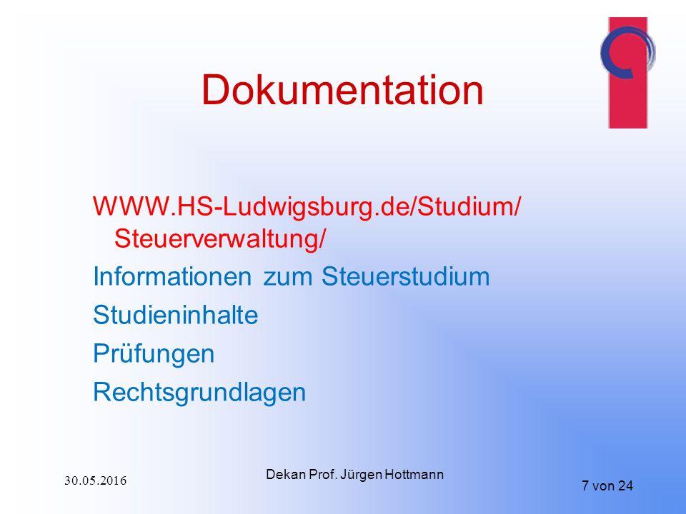7 von 24 Dokumentation WWW.HS-Ludwigsburg.de/Studium/ Steuerverwaltung/ Informationen zum Steuerstudium Studieninhalte Prüfungen Rechtsgrundlagen Dekan Prof.