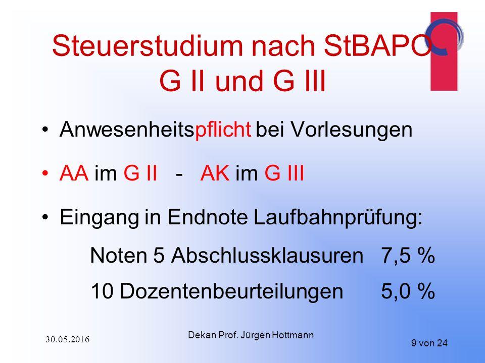 Steuerstudium nach StBAPO G II und G III Anwesenheitspflicht bei Vorlesungen AA im G II - AK im G III Eingang in Endnote Laufbahnprüfung: Noten 5 Abschlussklausuren 7,5 % 10 Dozentenbeurteilungen 5,0 % 9 von 24 Dekan Prof.