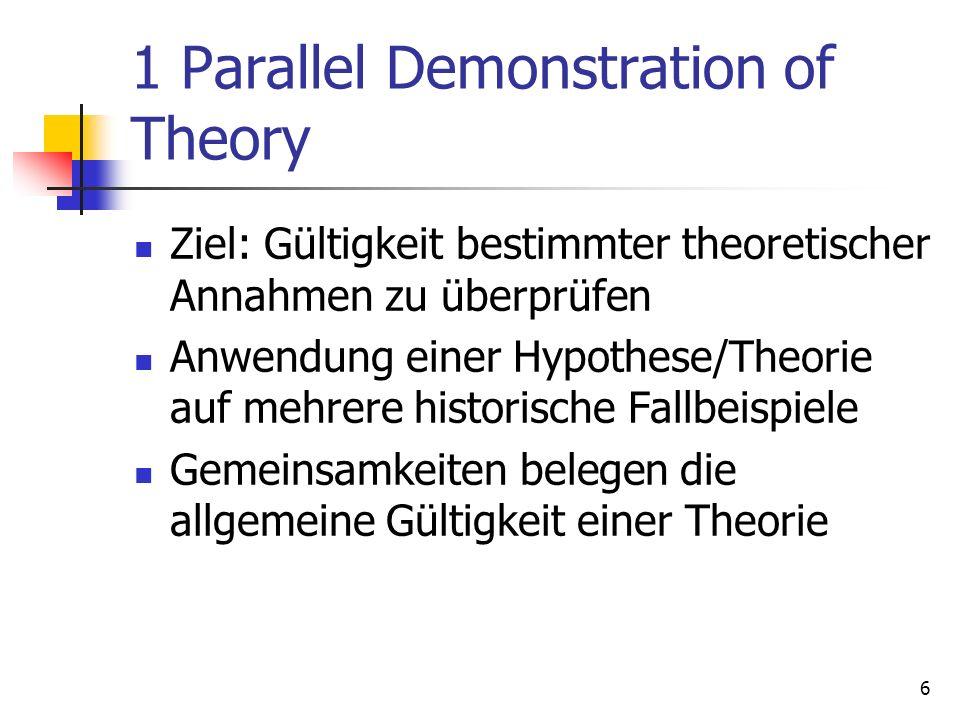 6 1 Parallel Demonstration of Theory Ziel: Gültigkeit bestimmter theoretischer Annahmen zu überprüfen Anwendung einer Hypothese/Theorie auf mehrere historische Fallbeispiele Gemeinsamkeiten belegen die allgemeine Gültigkeit einer Theorie
