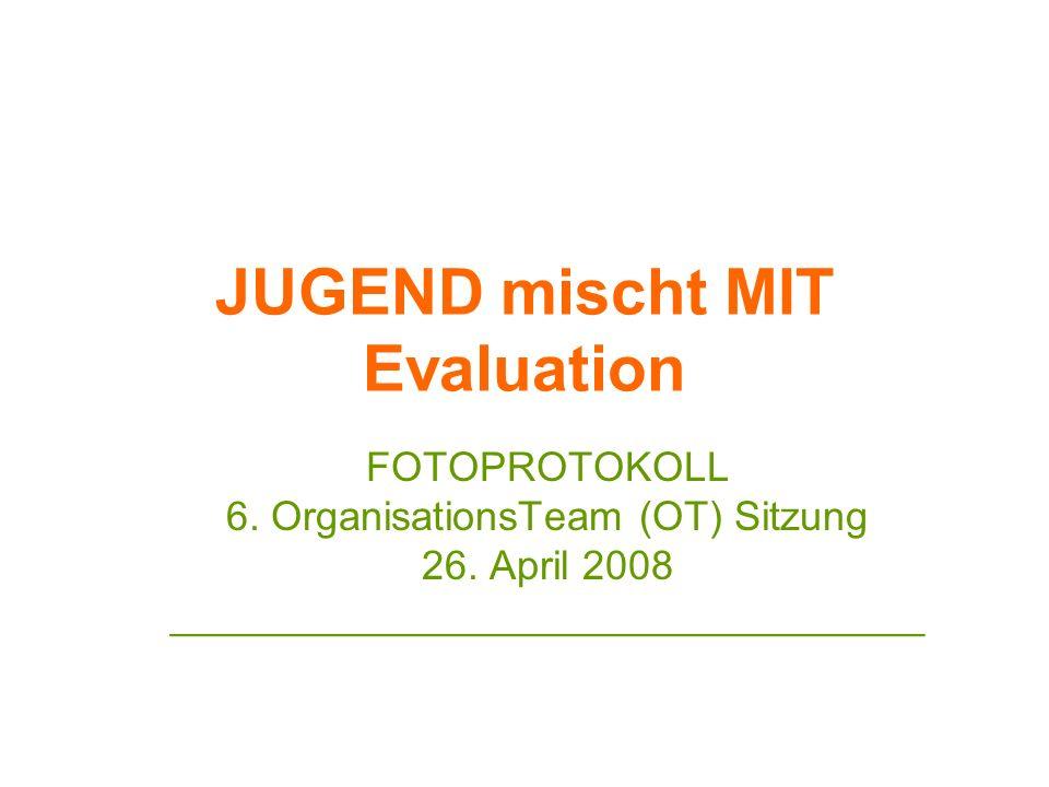 JUGEND mischt MIT Evaluation FOTOPROTOKOLL 6. OrganisationsTeam (OT) Sitzung 26. April 2008 _________________________________