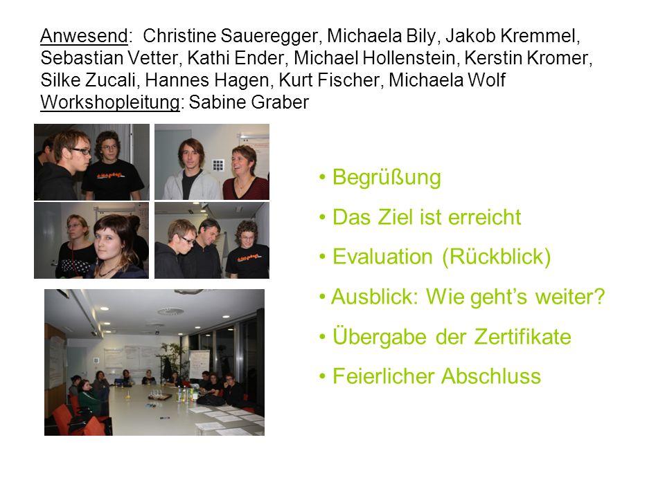 Anwesend: Christine Saueregger, Michaela Bily, Jakob Kremmel, Sebastian Vetter, Kathi Ender, Michael Hollenstein, Kerstin Kromer, Silke Zucali, Hannes