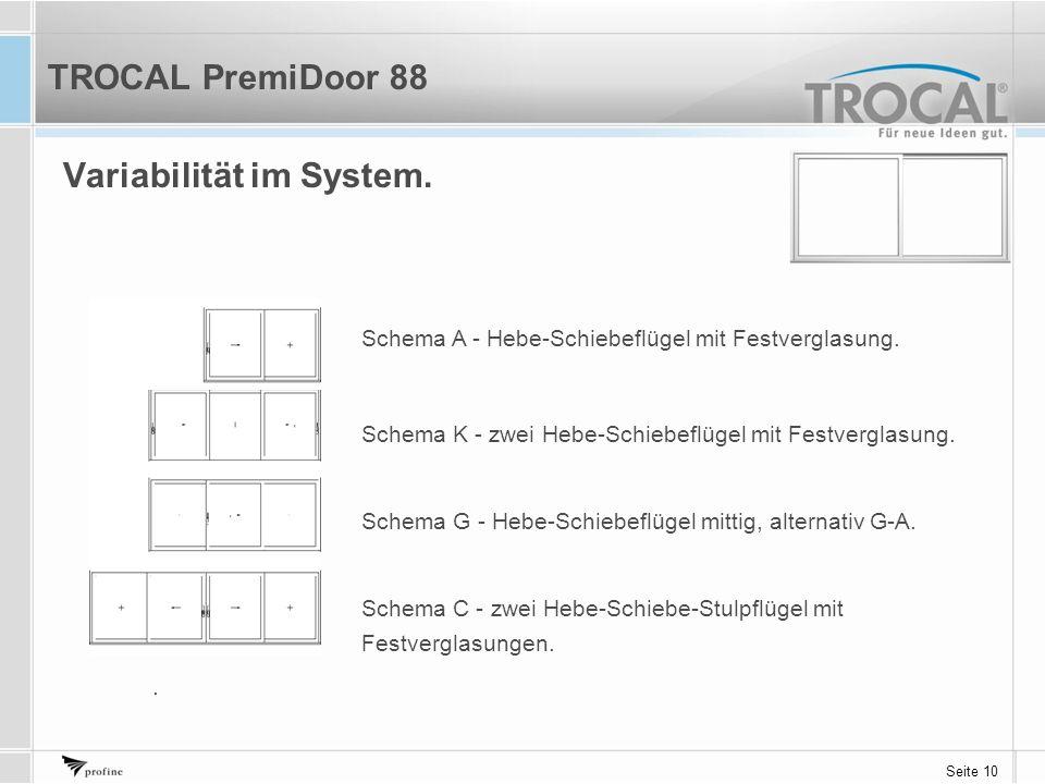 Seite 10 Variabilität im System. TROCAL PremiDoor 88 Schema A - Hebe-Schiebeflügel mit Festverglasung. Schema K - zwei Hebe-Schiebeflügel mit Festverg