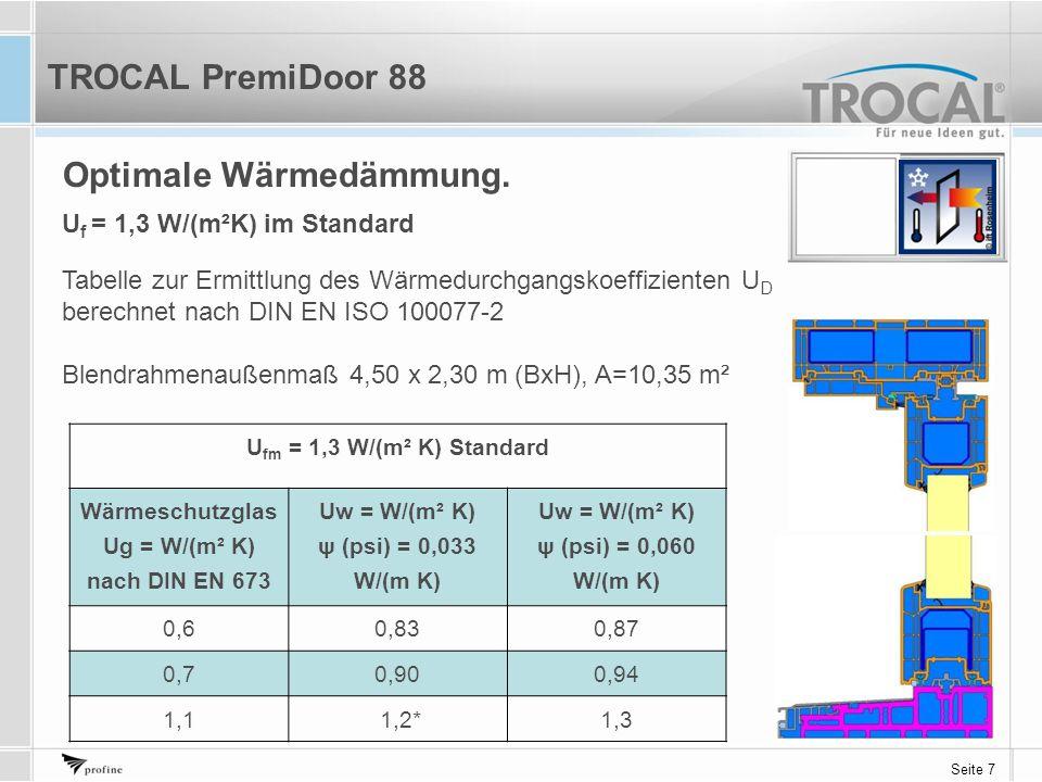 Seite 7 Optimale Wärmedämmung. U fm = 1,3 W/(m² K) Standard Wärmeschutzglas Ug = W/(m² K) nach DIN EN 673 Uw = W/(m² K) ψ (psi) = 0,033 W/(m K) Uw = W