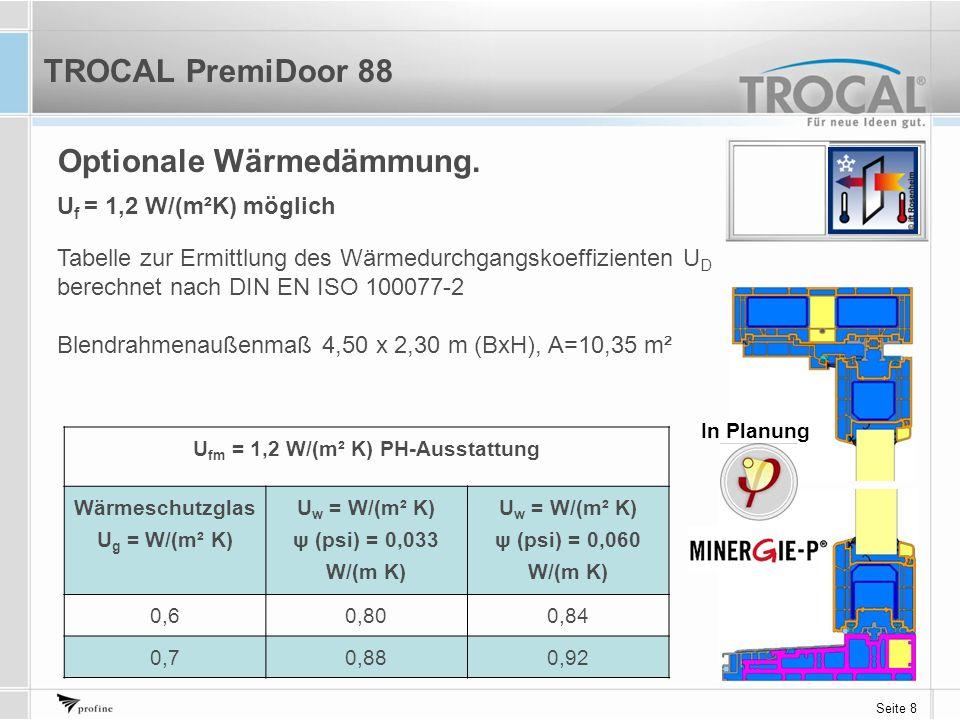 Seite 8 Optionale Wärmedämmung. U fm = 1,2 W/(m² K) PH-Ausstattung Wärmeschutzglas U g = W/(m² K) U w = W/(m² K) ψ (psi) = 0,033 W/(m K) U w = W/(m² K