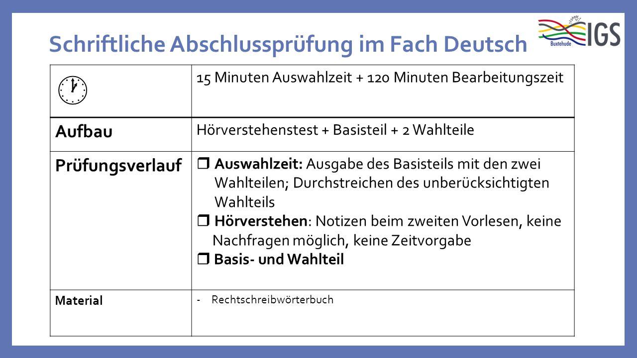 Schriftliche Abschlussprüfung im Fach Deutsch  15 Minuten Auswahlzeit + 120 Minuten Bearbeitungszeit Aufbau Hörverstehenstest + Basisteil + 2 Wahltei