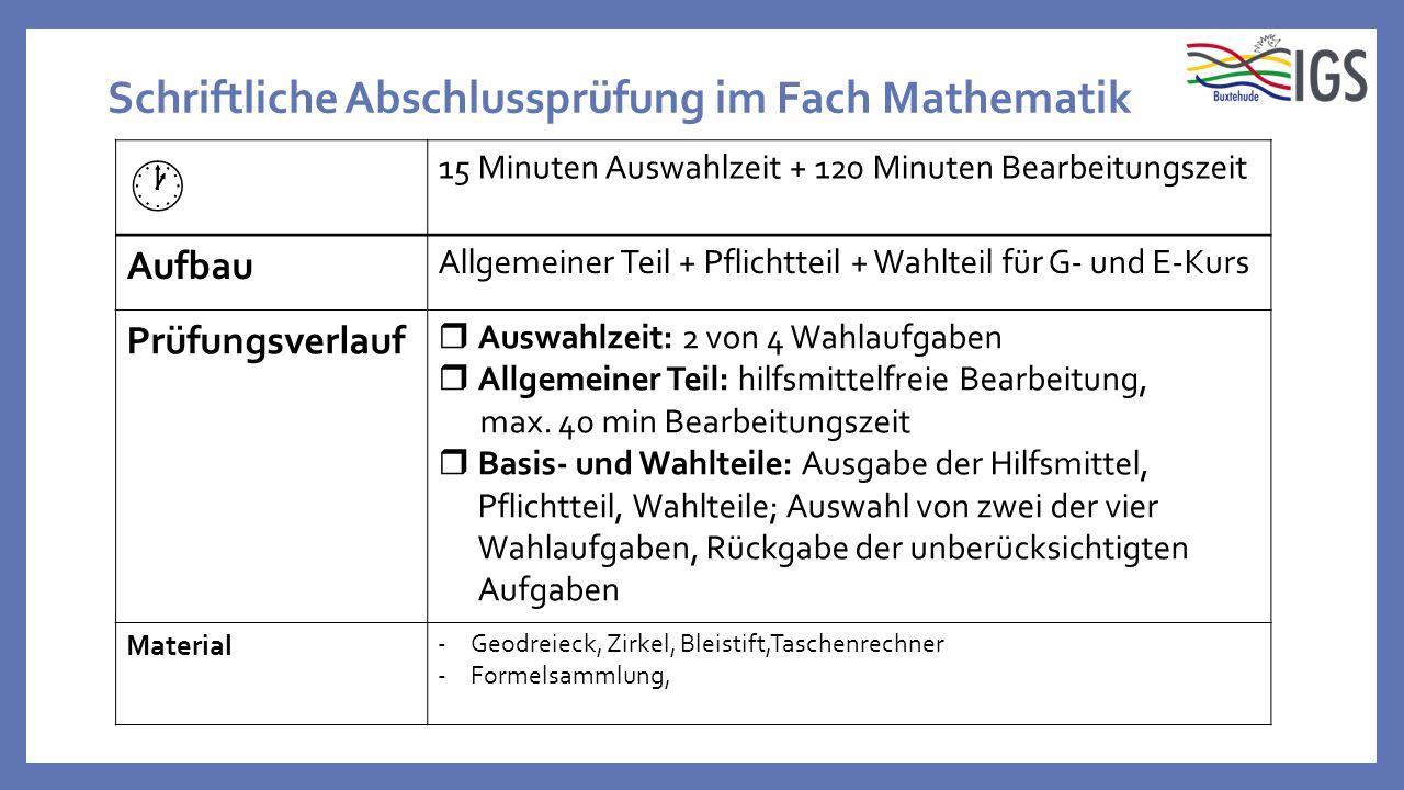 Schriftliche Abschlussprüfung im Fach Mathematik  15 Minuten Auswahlzeit + 120 Minuten Bearbeitungszeit Aufbau Allgemeiner Teil + Pflichtteil + Wahlt