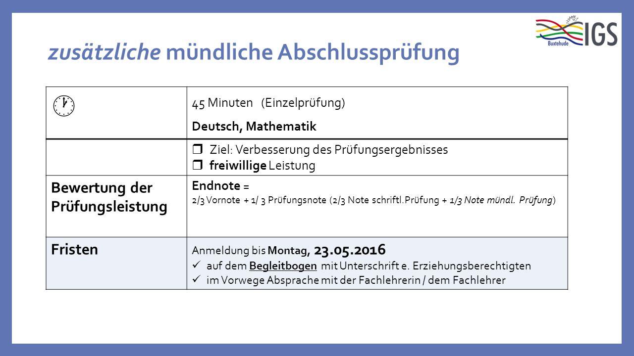 zusätzliche mündliche Abschlussprüfung  45 Minuten (Einzelprüfung) Deutsch, Mathematik  Ziel: Verbesserung des Prüfungsergebnisses  freiwillige Lei