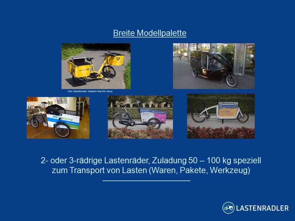 2- oder 3-rädrige Lastenräder, Zuladung 50 – 100 kg speziell zum Transport von Lasten (Waren, Pakete, Werkzeug) ___________________ Breite Modellpalette Foto: StreetScooter / Deutsche Post DHL Group