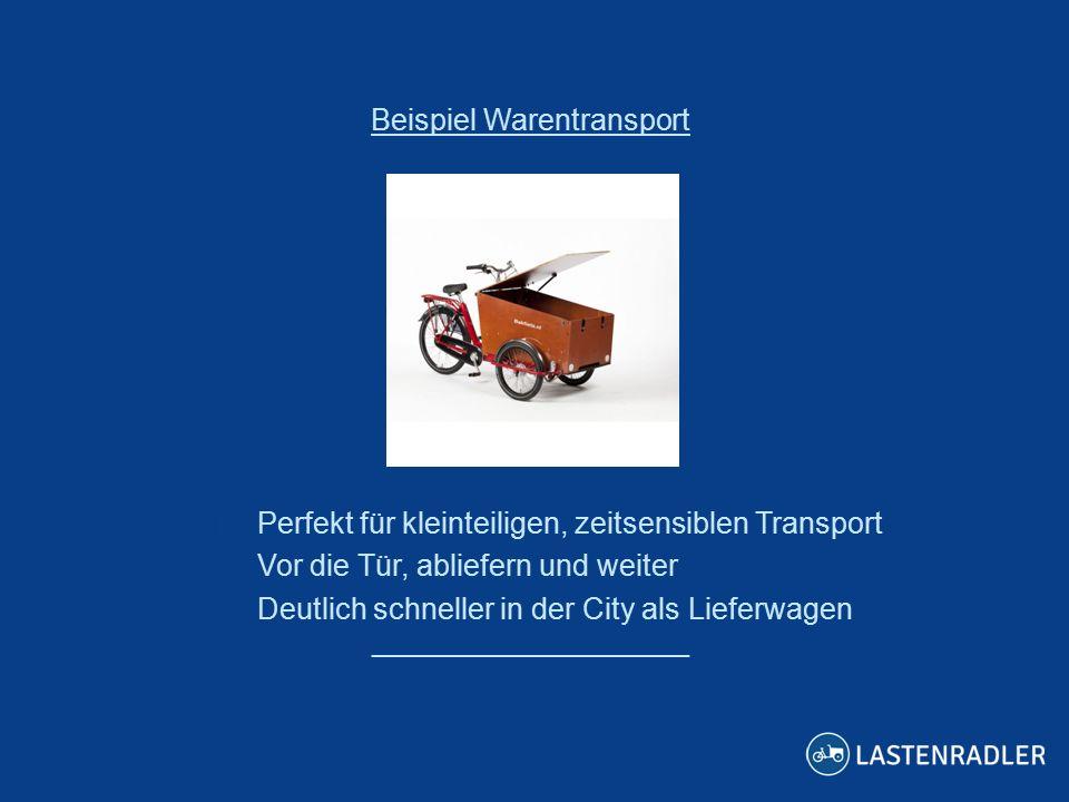 ___________________ Beispiel Warentransport  Perfekt für kleinteiligen, zeitsensiblen Transport  Vor die Tür, abliefern und weiter  Deutlich schneller in der City als Lieferwagen