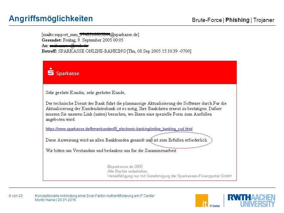 Konzeptionelle Anbindung einer Zwei-Faktor-Authentifizierung am IT Center Moritz Haine | 20.01.2016 Angriffsmöglichkeiten 8 von 23 Brute-Force | Phishing | Trojaner