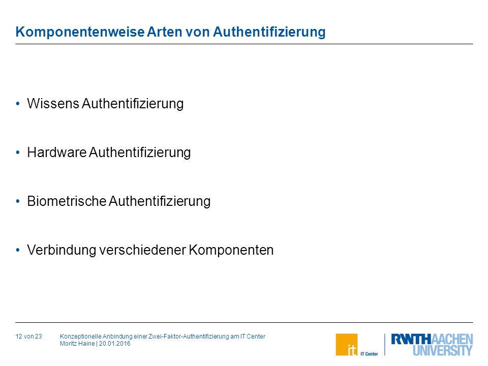 Konzeptionelle Anbindung einer Zwei-Faktor-Authentifizierung am IT Center Moritz Haine | 20.01.2016 Komponentenweise Arten von Authentifizierung 12 von 23 Wissens Authentifizierung Hardware Authentifizierung Biometrische Authentifizierung Verbindung verschiedener Komponenten