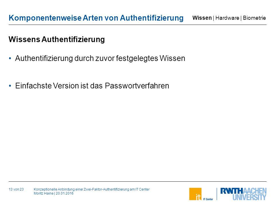 Konzeptionelle Anbindung einer Zwei-Faktor-Authentifizierung am IT Center Moritz Haine | 20.01.2016 Komponentenweise Arten von Authentifizierung Wissens Authentifizierung 13 von 23 Authentifizierung durch zuvor festgelegtes Wissen Einfachste Version ist das Passwortverfahren Wissen | Hardware | Biometrie