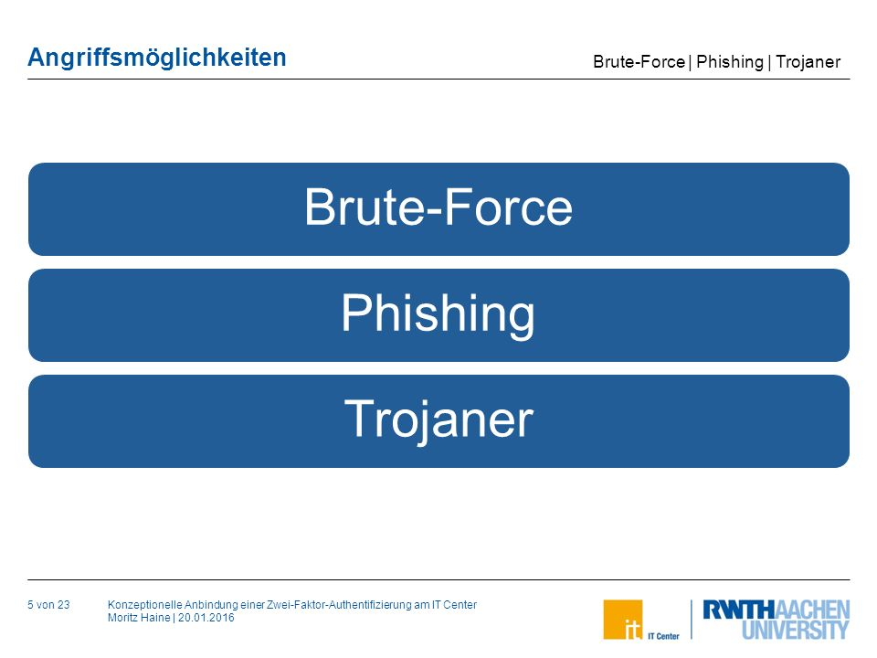 Konzeptionelle Anbindung einer Zwei-Faktor-Authentifizierung am IT Center Moritz Haine   20.01.2016 Angriffsmöglichkeiten Brute-Force 6 von 23 Ausprobieren aller möglichen Zeichenkombinationen Länge ist ausschlaggebender als Komplexität Brute-Force   Phishing   Trojaner