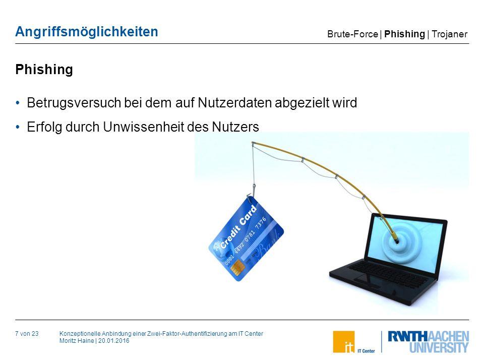 Konzeptionelle Anbindung einer Zwei-Faktor-Authentifizierung am IT Center Moritz Haine | 20.01.2016 Angriffsmöglichkeiten Phishing 7 von 23 Betrugsversuch bei dem auf Nutzerdaten abgezielt wird Erfolg durch Unwissenheit des Nutzers Brute-Force | Phishing | Trojaner