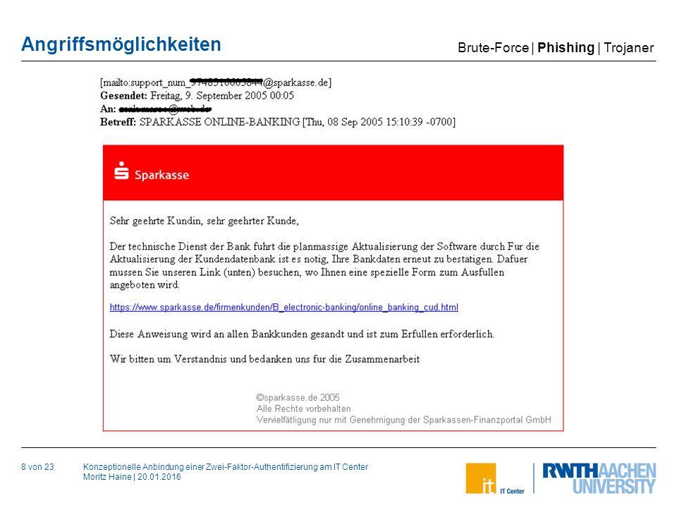 Konzeptionelle Anbindung einer Zwei-Faktor-Authentifizierung am IT Center Moritz Haine   20.01.2016 Angriffsmöglichkeiten 8 von 23 Brute-Force   Phishing   Trojaner