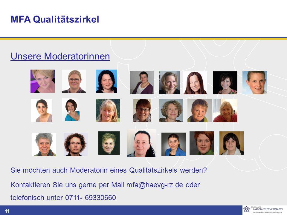 11 MFA Qualitätszirkel Unsere Moderatorinnen Sie möchten auch Moderatorin eines Qualitätszirkels werden? Kontaktieren Sie uns gerne per Mail mfa@haevg