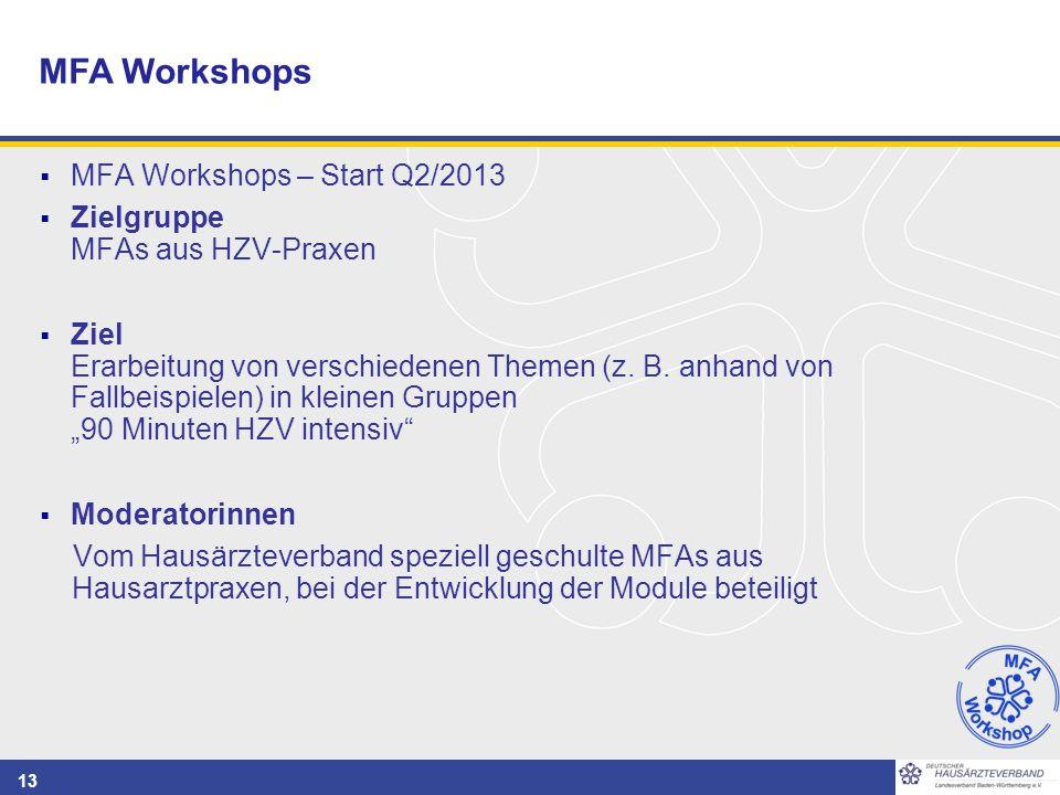 13  MFA Workshops – Start Q2/2013  Zielgruppe MFAs aus HZV-Praxen  Ziel Erarbeitung von verschiedenen Themen (z. B. anhand von Fallbeispielen) in k