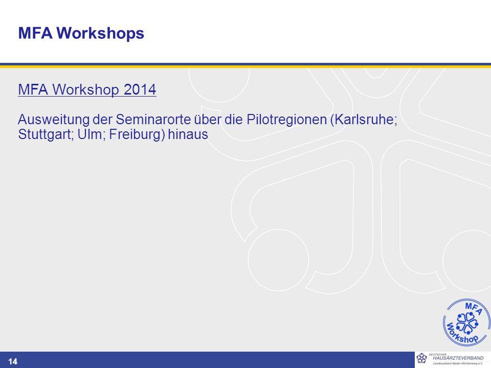 14 MFA Workshop 2014 Ausweitung der Seminarorte über die Pilotregionen (Karlsruhe; Stuttgart; Ulm; Freiburg) hinaus MFA Workshops