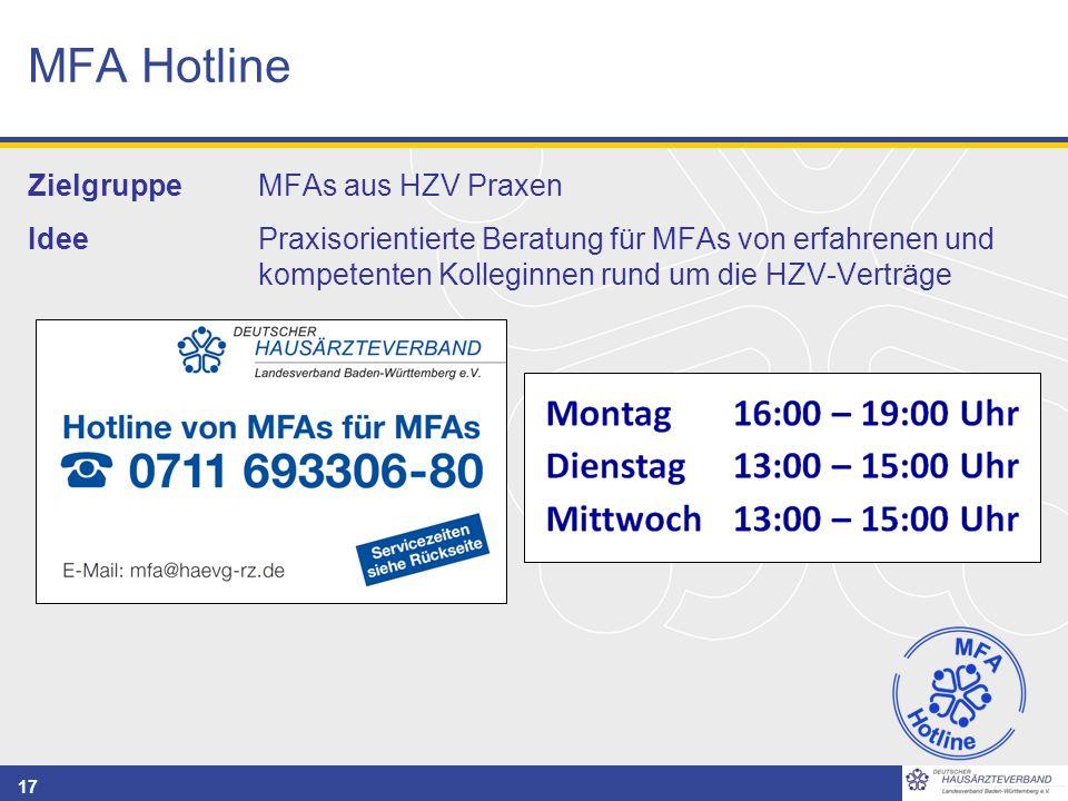 17 MFA Hotline Zielgruppe MFAs aus HZV Praxen IdeePraxisorientierte Beratung für MFAs von erfahrenen und kompetenten Kolleginnen rund um die HZV-Vertr