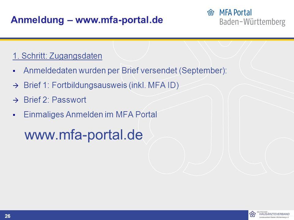 26 Anmeldung – www.mfa-portal.de 1.