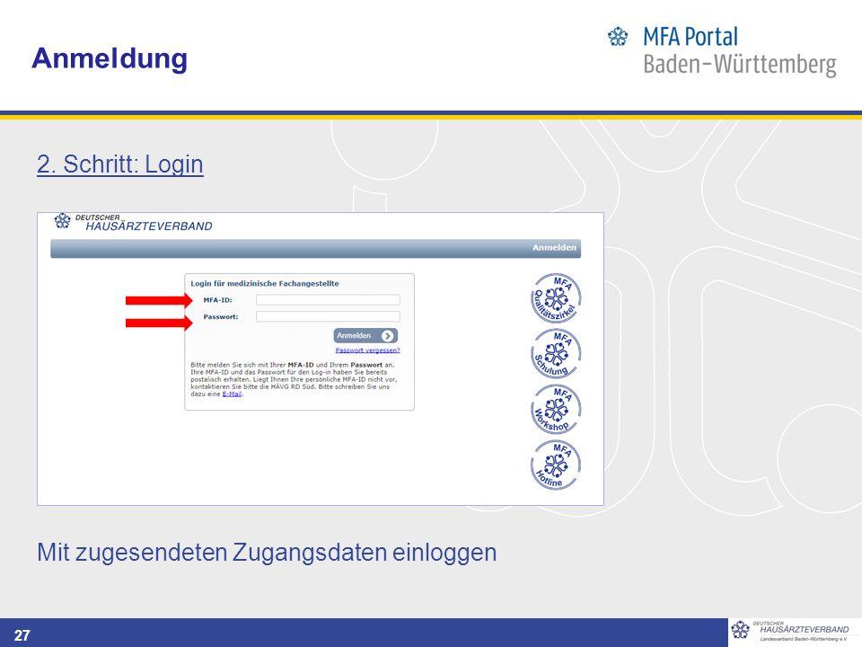 27 Anmeldung 2. Schritt: Login Mit zugesendeten Zugangsdaten einloggen