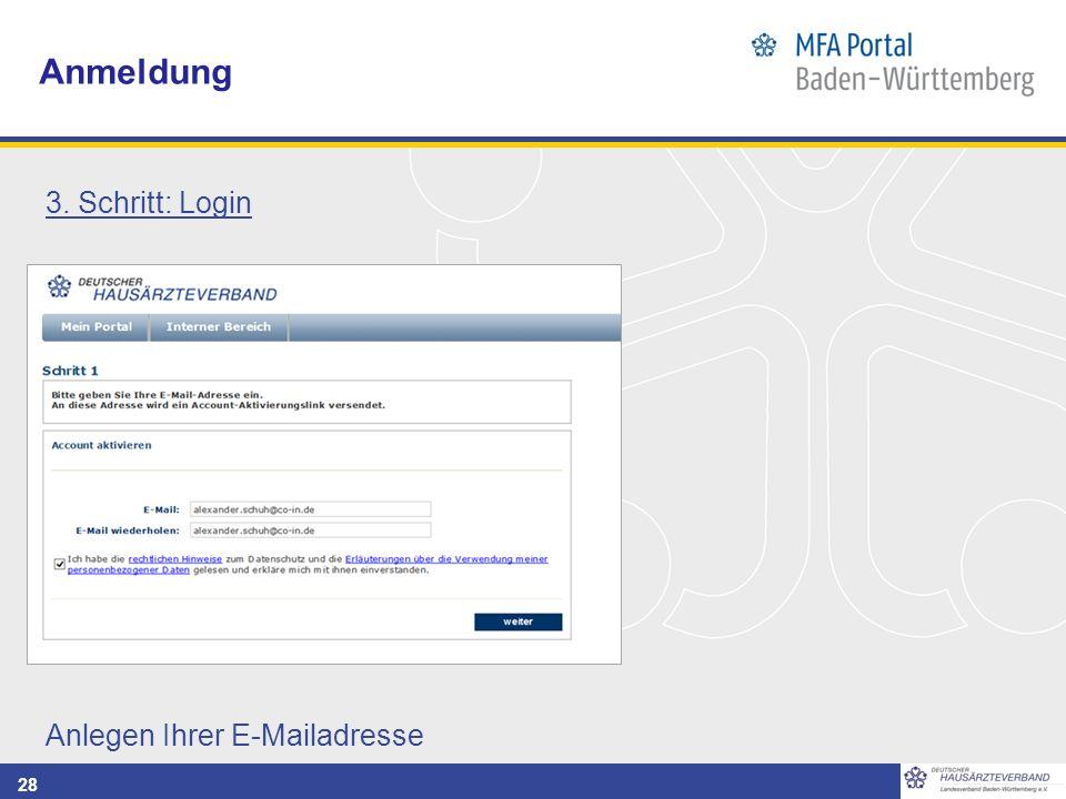 28 Anmeldung 3. Schritt: Login Anlegen Ihrer E-Mailadresse