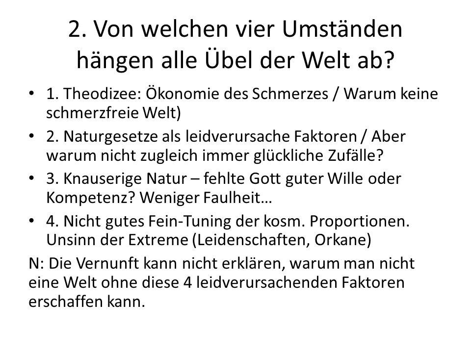 1. Theodizee: Ökonomie des Schmerzes / Warum keine schmerzfreie Welt) 2.