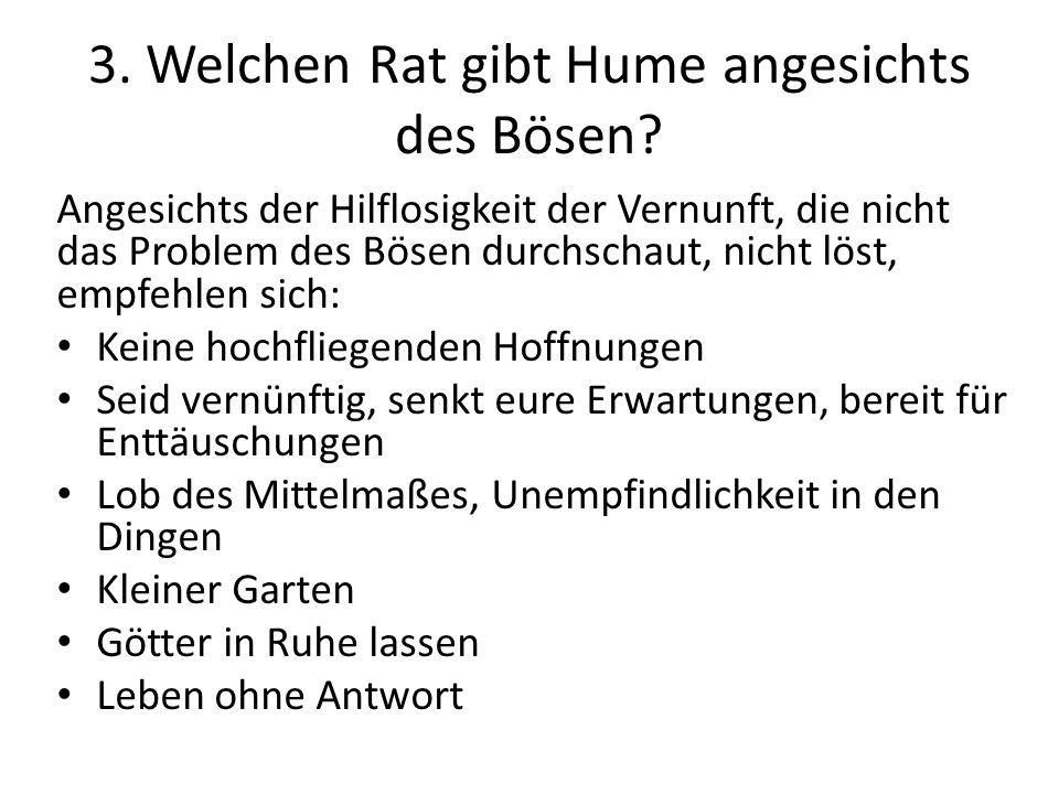 3. Welchen Rat gibt Hume angesichts des Bösen.