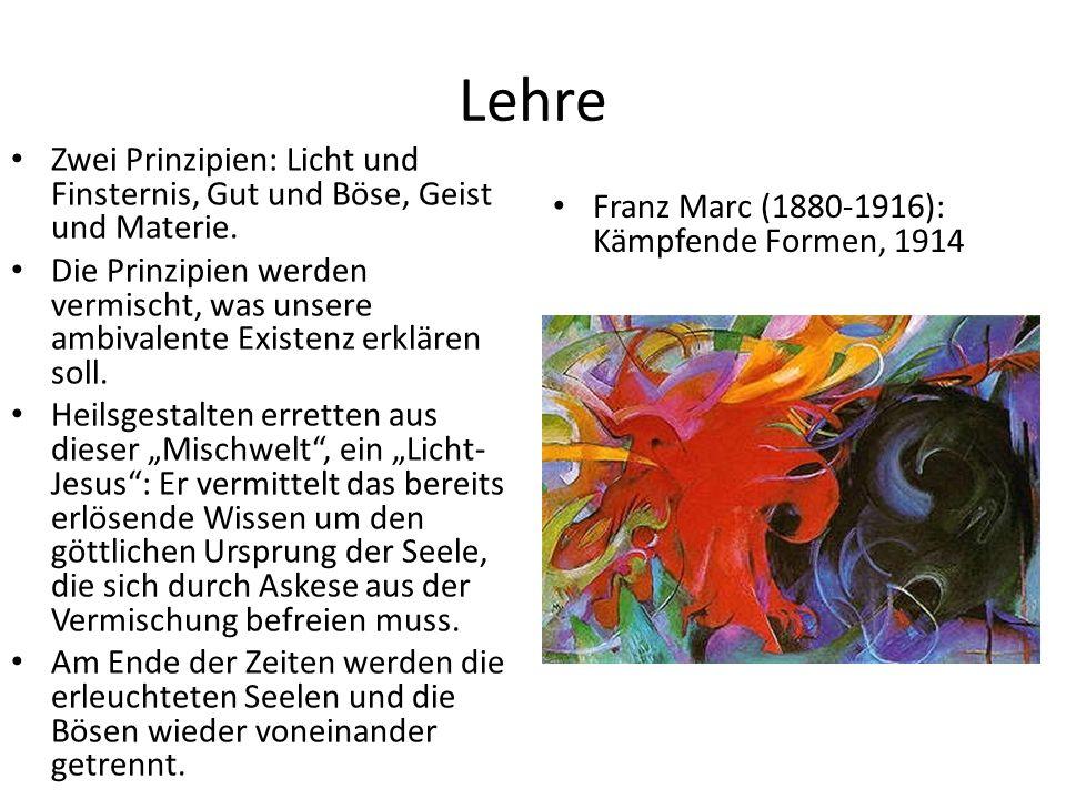 Lehre Zwei Prinzipien: Licht und Finsternis, Gut und Böse, Geist und Materie.