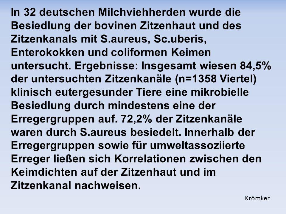 In 32 deutschen Milchviehherden wurde die Besiedlung der bovinen Zitzenhaut und des Zitzenkanals mit S.aureus, Sc.uberis, Enterokokken und coliformen Keimen untersucht.