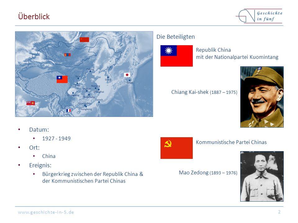 www.geschichte-in-5.de Überblick Datum: 1927 - 1949 Ort: China Ereignis: Bürgerkrieg zwischen der Republik China & der Kommunistischen Partei Chinas 2 Republik China mit der Nationalpartei Kuomintang Die Beteiligten Chiang Kai-shek (1887 – 1975) Mao Zedong (1893 – 1976) Kommunistische Partei Chinas