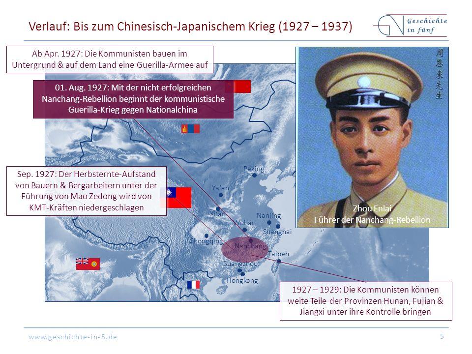 www.geschichte-in-5.de Peking Tokyo Hongkong Shanghai Guangzhou Seoul Nanjing Nanchang Xi'an Chongqing Taipeh Wuhan Verlauf: Bis zum Chinesisch-Japanischem Krieg (1927 – 1937) 5 Ab Apr.