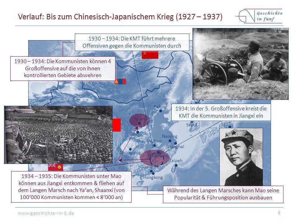 www.geschichte-in-5.de Peking Tokyo Hongkong Shanghai Guangzhou Seoul Nanjing Nanchang Xi'an Chongqing Taipeh Wuhan Verlauf: Bis zum Chinesisch-Japanischem Krieg (1927 – 1937) 6 1930 – 1934: Die Kommunisten können 4 Großoffensive auf die von ihnen kontrollierten Gebiete abwehren 1934 – 1935: Die Kommunisten unter Mao können aus Jiangxi entkommen & fliehen auf dem Langen Marsch nach Ya'an, Shaanxi (von 100'000 Kommunisten kommen < 8'000 an) 1934: In der 5.