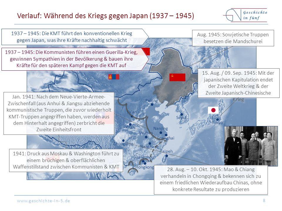 www.geschichte-in-5.de Peking Tokyo Hongkong Shanghai Guangzhou Seoul Nanjing Nanchang Ya'an Xi'an Chongqing Taipeh Wuhan Verlauf: Während des Kriegs gegen Japan (1937 – 1945) 8 Jan.