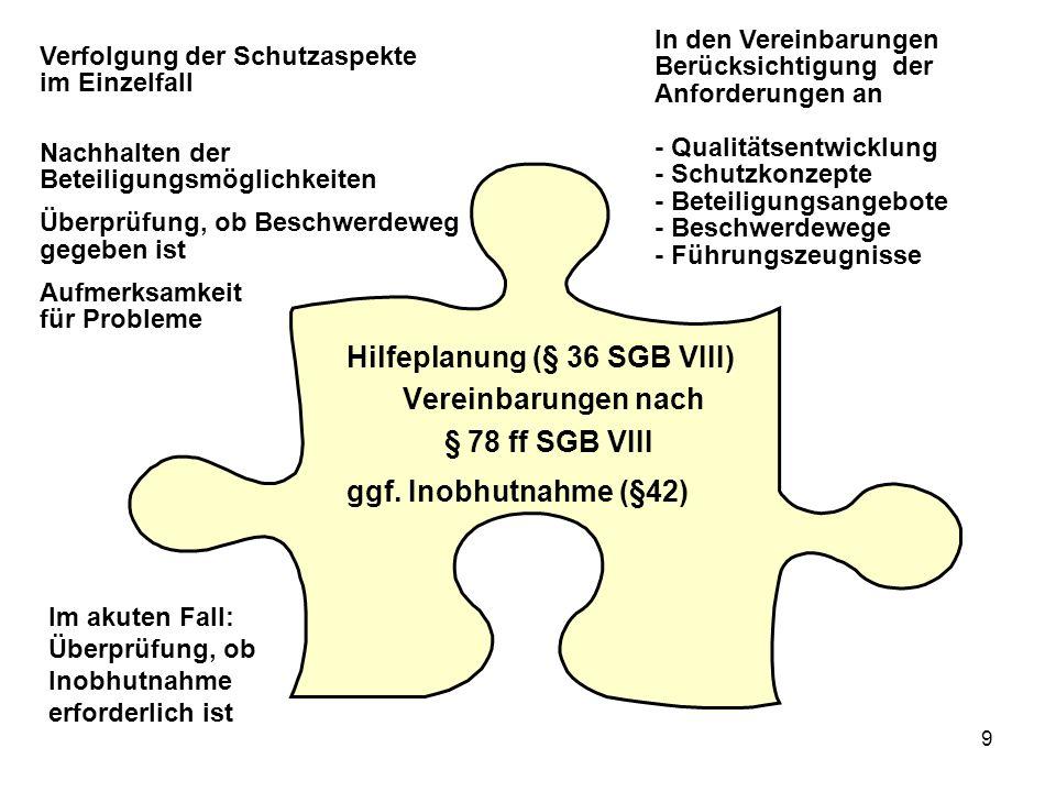 9 Hilfeplanung (§ 36 SGB VIII) Vereinbarungen nach § 78 ff SGB VIII ggf.