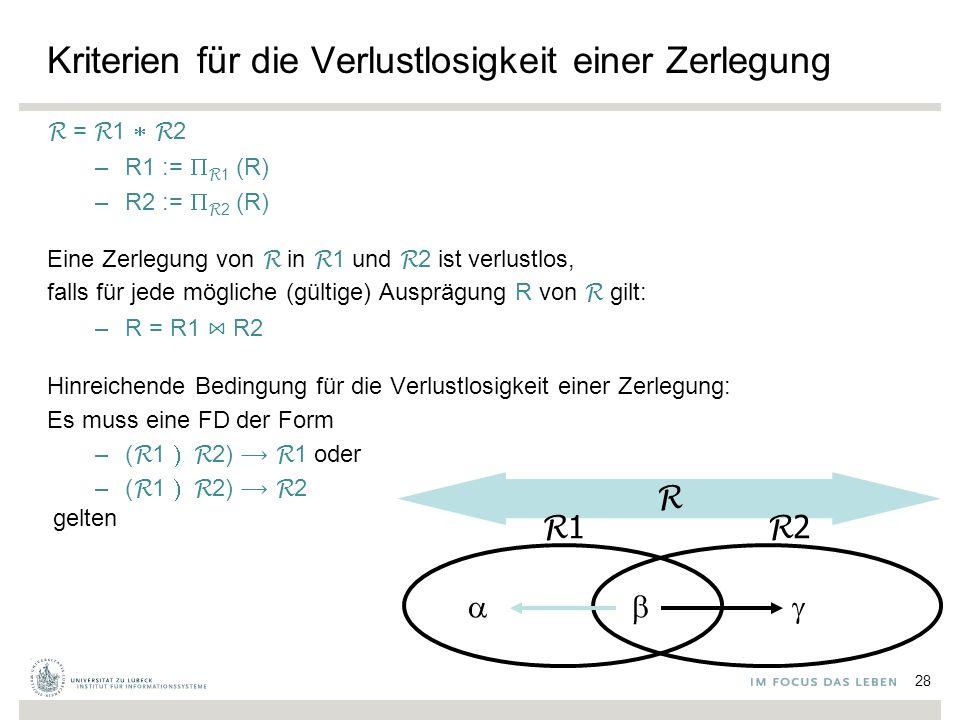 Kriterien für die Verlustlosigkeit einer Zerlegung R = R 1  R 2 –R1 :=  R 1 (R) –R2 :=  R 2 (R) Eine Zerlegung von R in R 1 und R 2 ist verlustlos, falls für jede mögliche (gültige) Ausprägung R von R gilt: –R = R1 ⋈ R2 Hinreichende Bedingung für die Verlustlosigkeit einer Zerlegung: Es muss eine FD der Form –( R 1  R 2) R 1 oder –( R 1  R 2) R 2 gelten R R 1   R 2  28